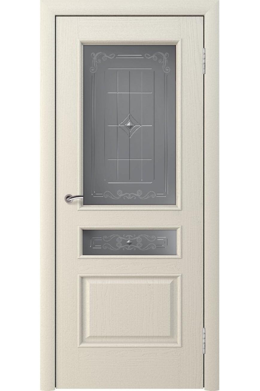 """Дверь остекленная массив шпон """"КАЛИНА"""" дуб жемчуг, """"АМК"""""""