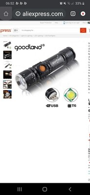 1000 Lumens LED Flashlight USB Rechargeable Torch