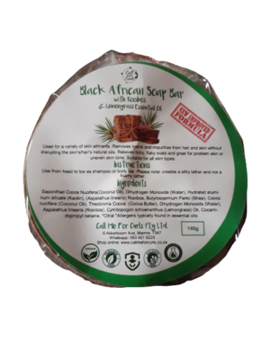 Black African Soap Bar with Rooibos and Lemongrass Oil (less than the normal 140g) - discounted