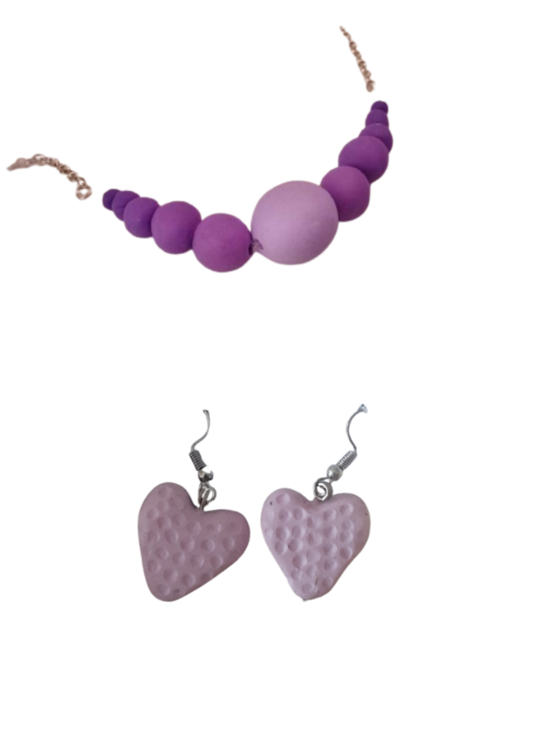Necklace and earrings set pink