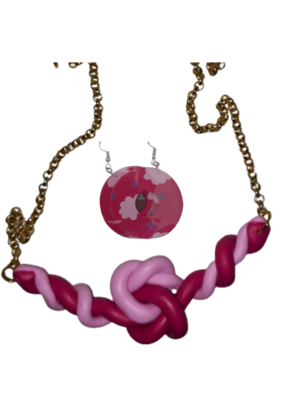Necklace and earrings  pink(2)