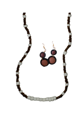 Necklace and Earrings set Brown