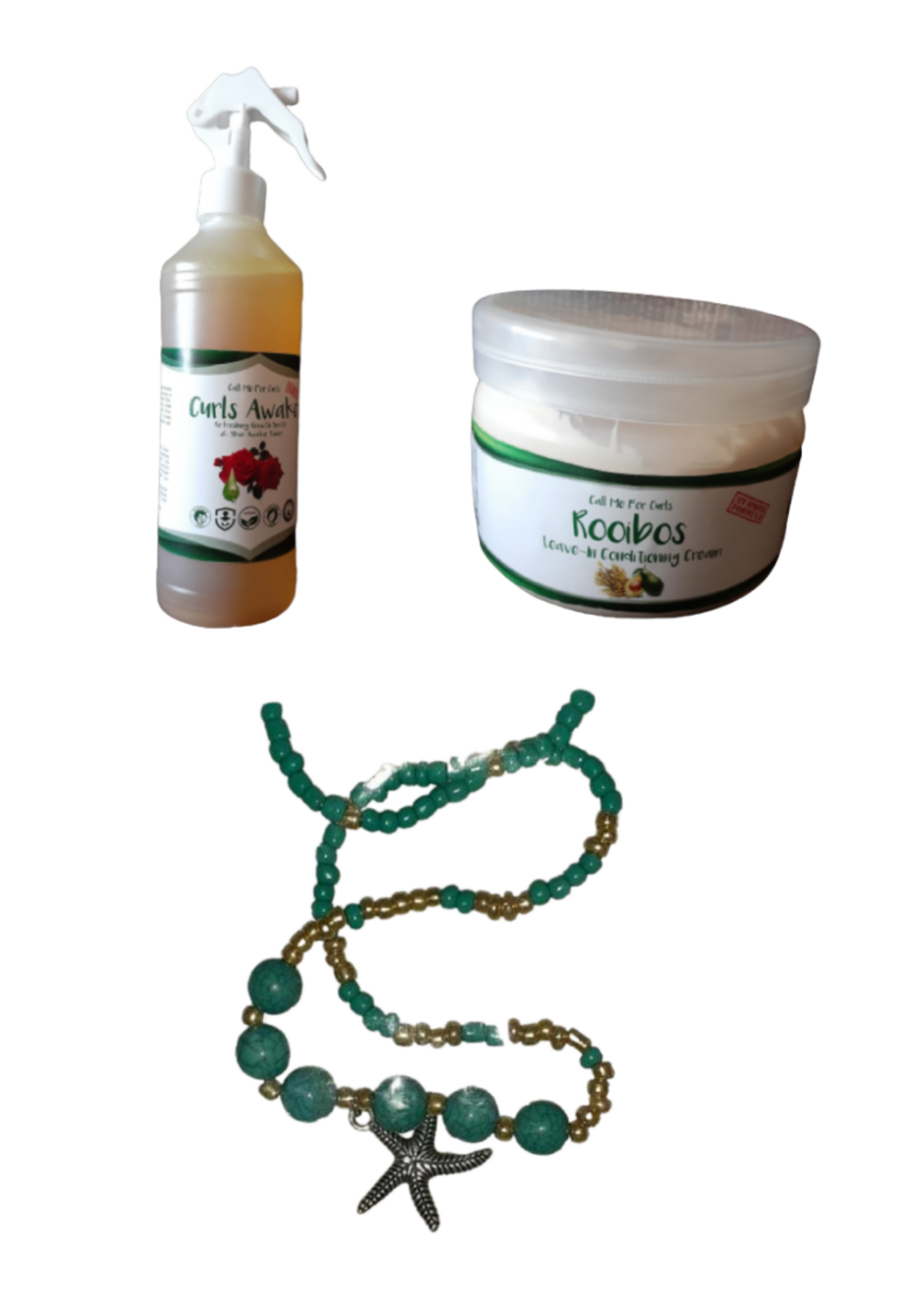 Curl Growth Sprits + Rooibos leave in + necklace