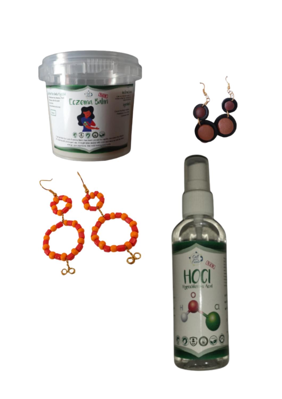 Eczema Balm + Hocl (sanitizer) + 2 x earring sets