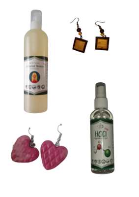 Oil Control shampoo +  Hocl (sanitizer) + earrings x2