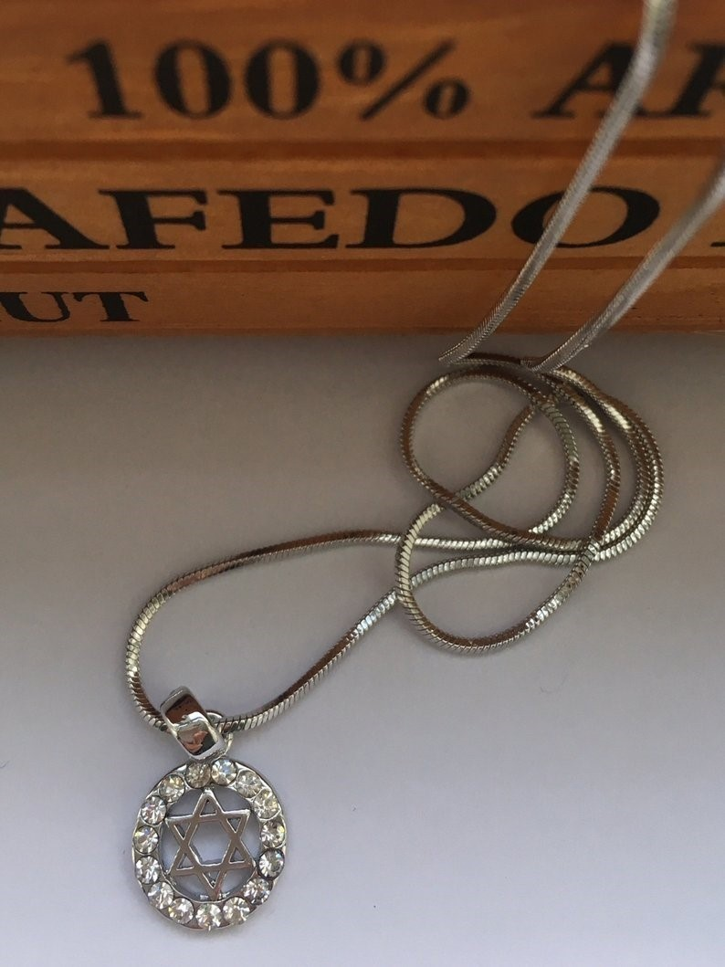 Jewish Star of David Pendant Necklace for Women Silver Crystal Jewelry