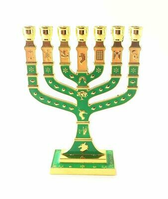 Miniature Gold Enameled Jewish Menorah 7 Branch