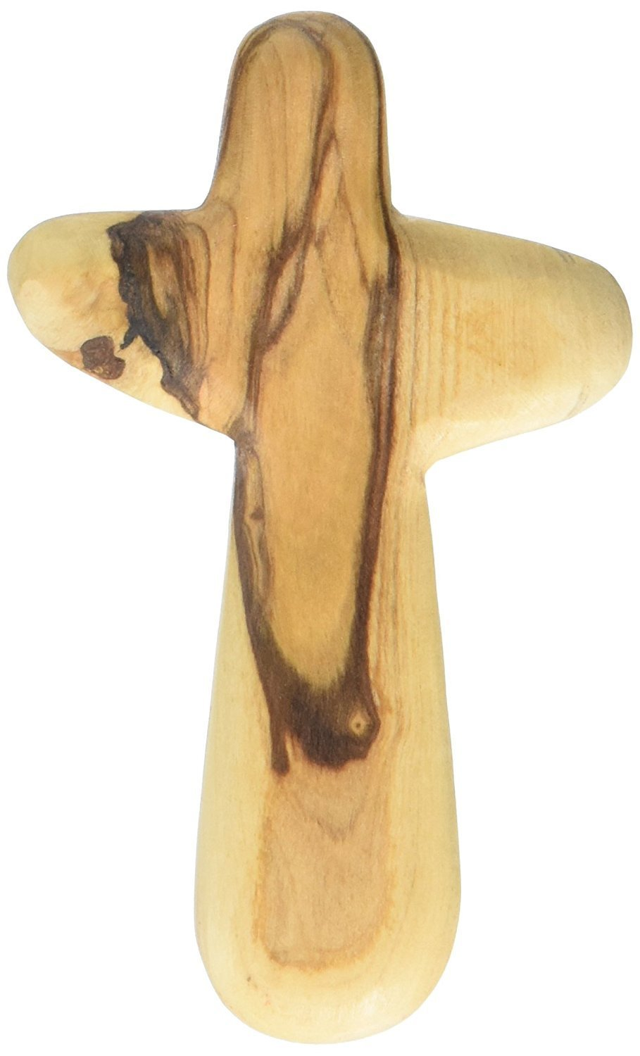 Holding Cross will fit in your Palm known as Olive wood Comfort Holding Cross with Velvet gift bag - Authentically from Bethlehem (4 inches)