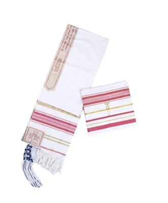 Pink New Convenant Messianic Tallit Prayer Shawl with Matching Bag