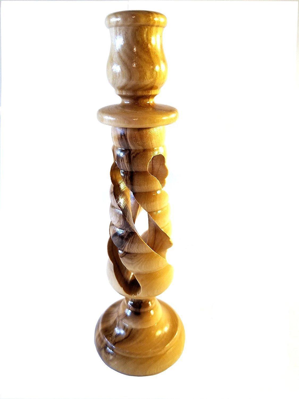 Handcrafted Spiral Olive Wood Candle Holder - Made in Bethlehem