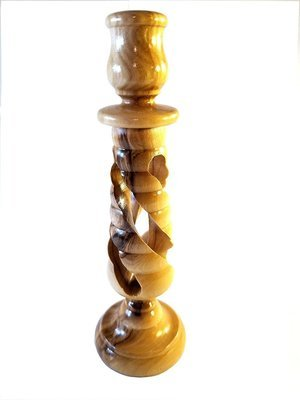 Handcrafted Spiral Olive Wood Candle Holder - Made in Bethlehem