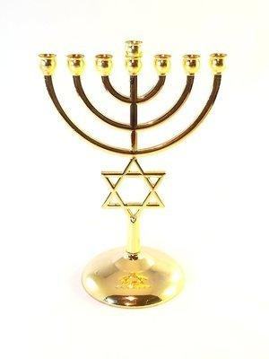 Gold plated Jewish Menorah 7 Branch Star of David