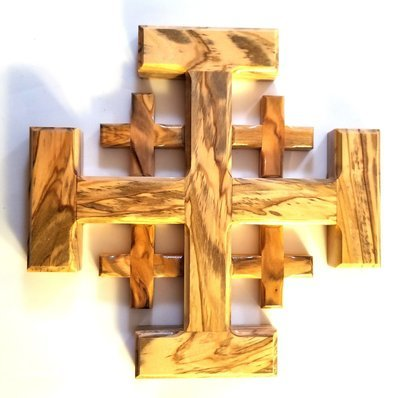 Handcrafted Olive Wood Jerusalem Cross from Bethlehem - Large