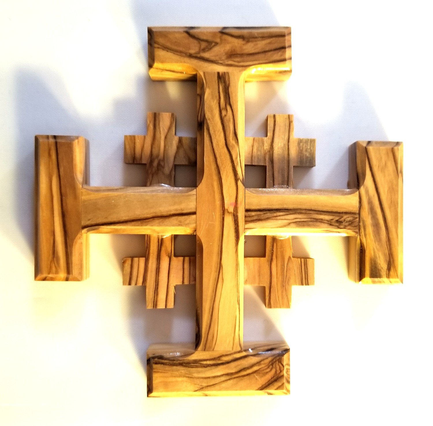 Handcrafted Olive Wood Jerusalem Cross from Bethlehem - Small