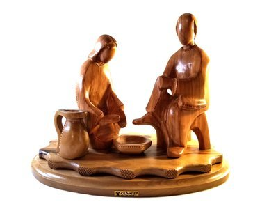 Hand Carved Bethlehem Olive Wood Jesus Washing Disciples Feet