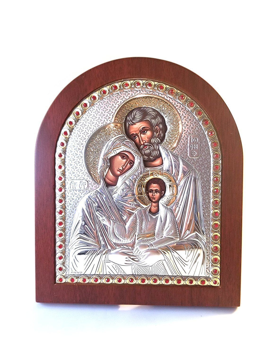 Catholic Silver 925′ Icon Gold plate. The Holy Family: Joesph, Mary, and Jesus …