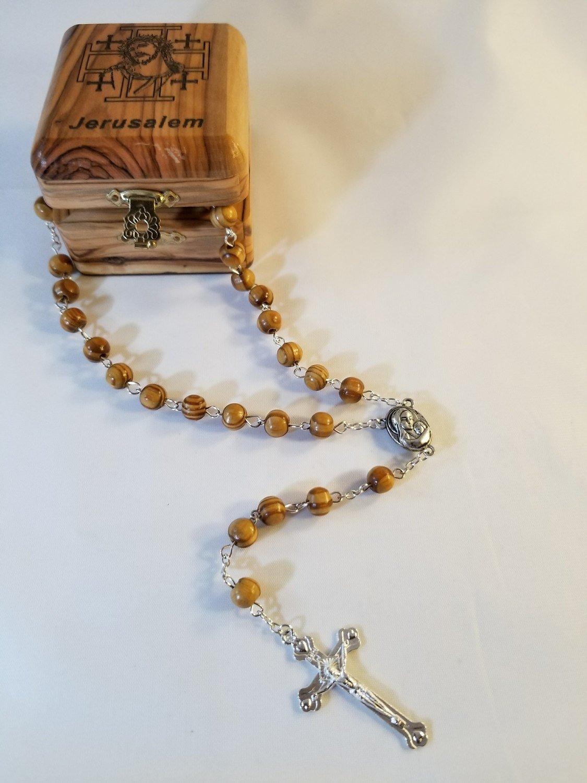 Bethlehem Olive Wood Jewelry Box with Rosary