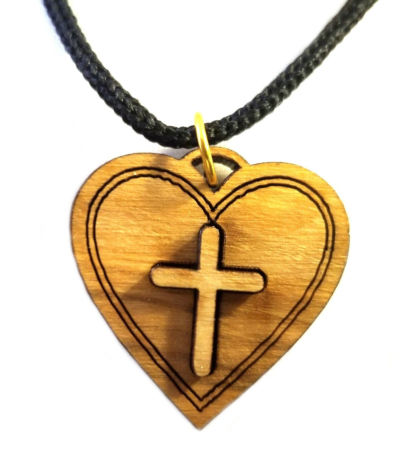 Multilayered Christian Heart Olive Wood Pendant