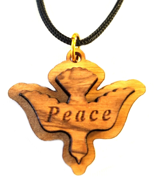 Multilayered Peace Dove Olive Wood Pendant