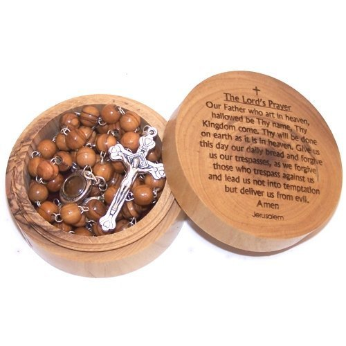Olive Wood Lord's Prayer box with Rosary (7x3cm 0r 2.8 x 1.2 inches)