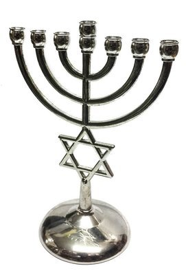 Silver plated Jewish Menorah 7 Branch Star of David