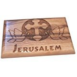 Magnet Olive wood plaque with Doves, Cross and Jerusalem 6x4cm