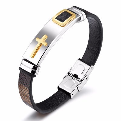 Cross Leather Mens Stainless Steel Cuff Bangle Wrist Band 185mm (Tan)
