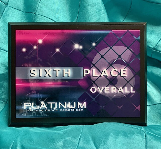 6th Place Overall Plaque