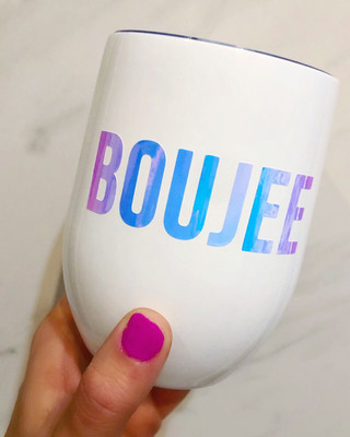 BOUJEE 12oz Insulated Wine Tumbler With Lid