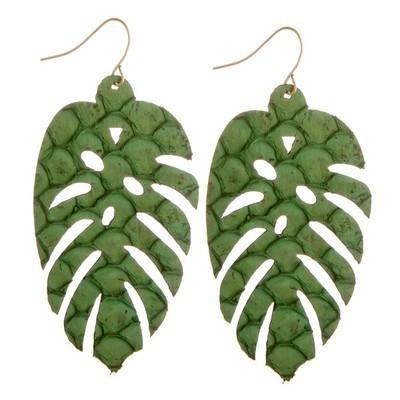 palm leaf earrings - green