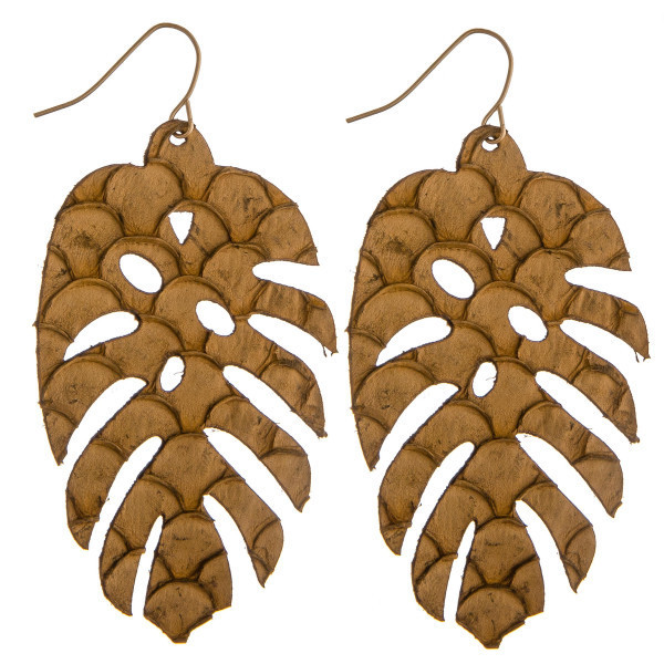 palm leaf earrings - BROWN