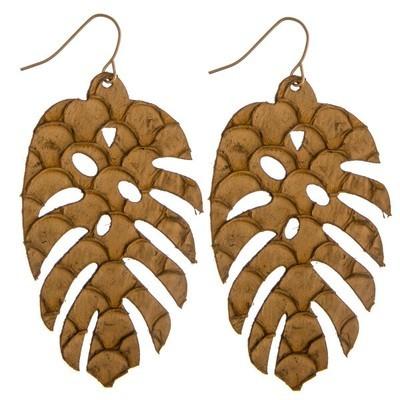 palm leaf earrings - BROWN