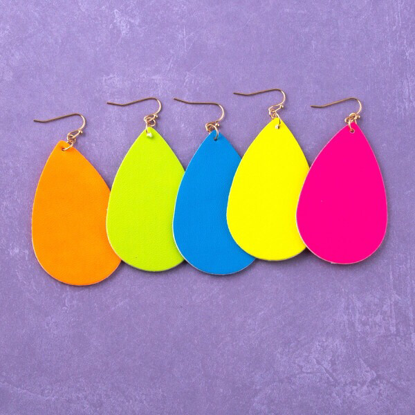 Neon Faux Leather Earrings