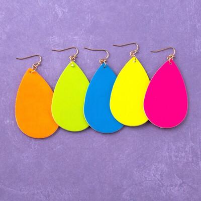 Neon Faux Leather Earrings