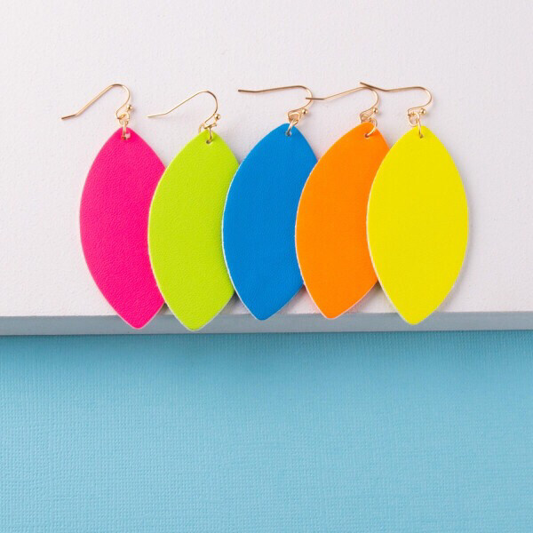 Neon Faux Leather Marquee Earrings