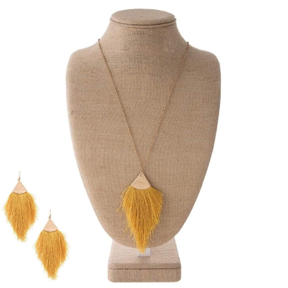 Mustard Tassel Necklace & Earrings