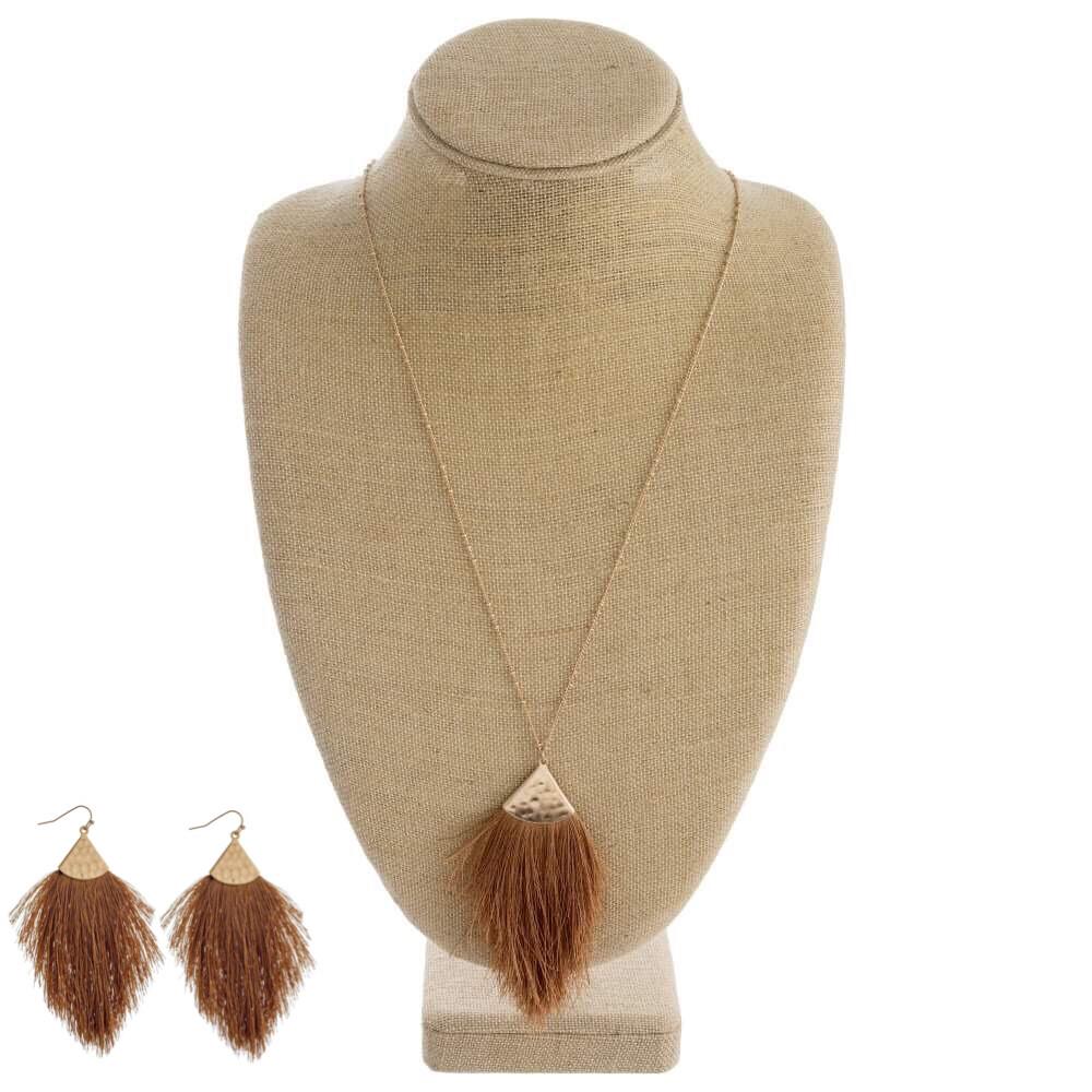 Cognac Tassel Necklace & Earrings
