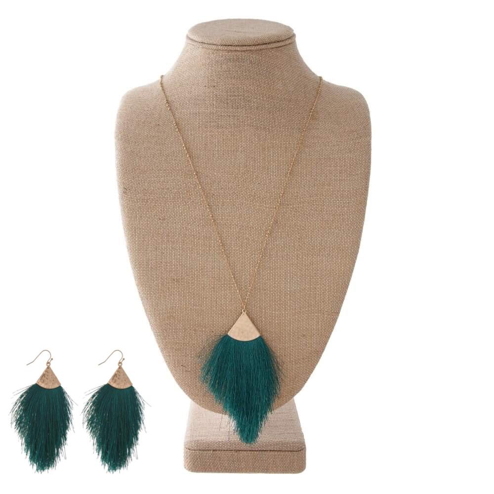 Hunter Green Tassel Necklace & Earrings