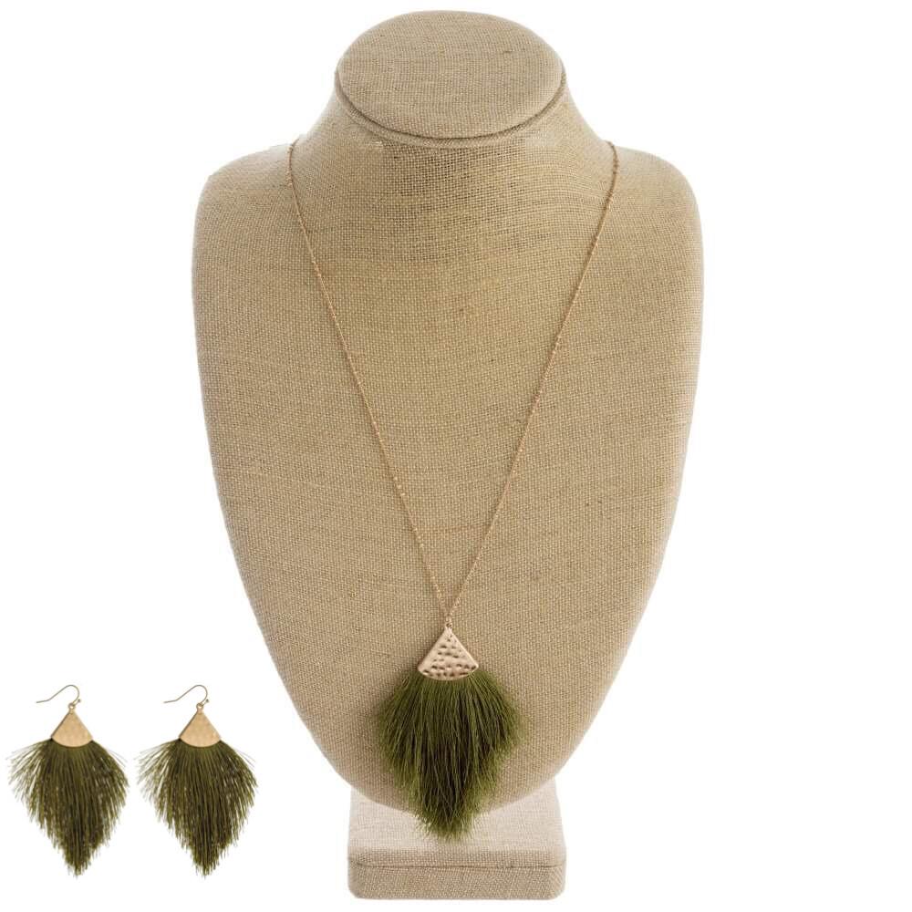 Olive Green Tassel Necklace & Earrings