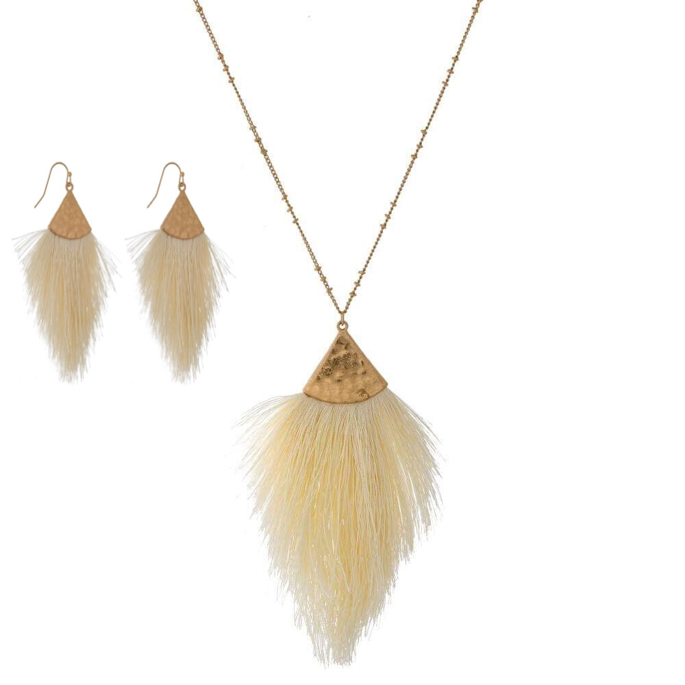 Ivory Tassel Necklace & Earrings