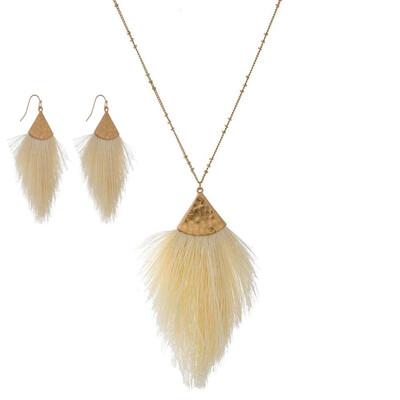 Ivory Tassel Necklace & Earrings