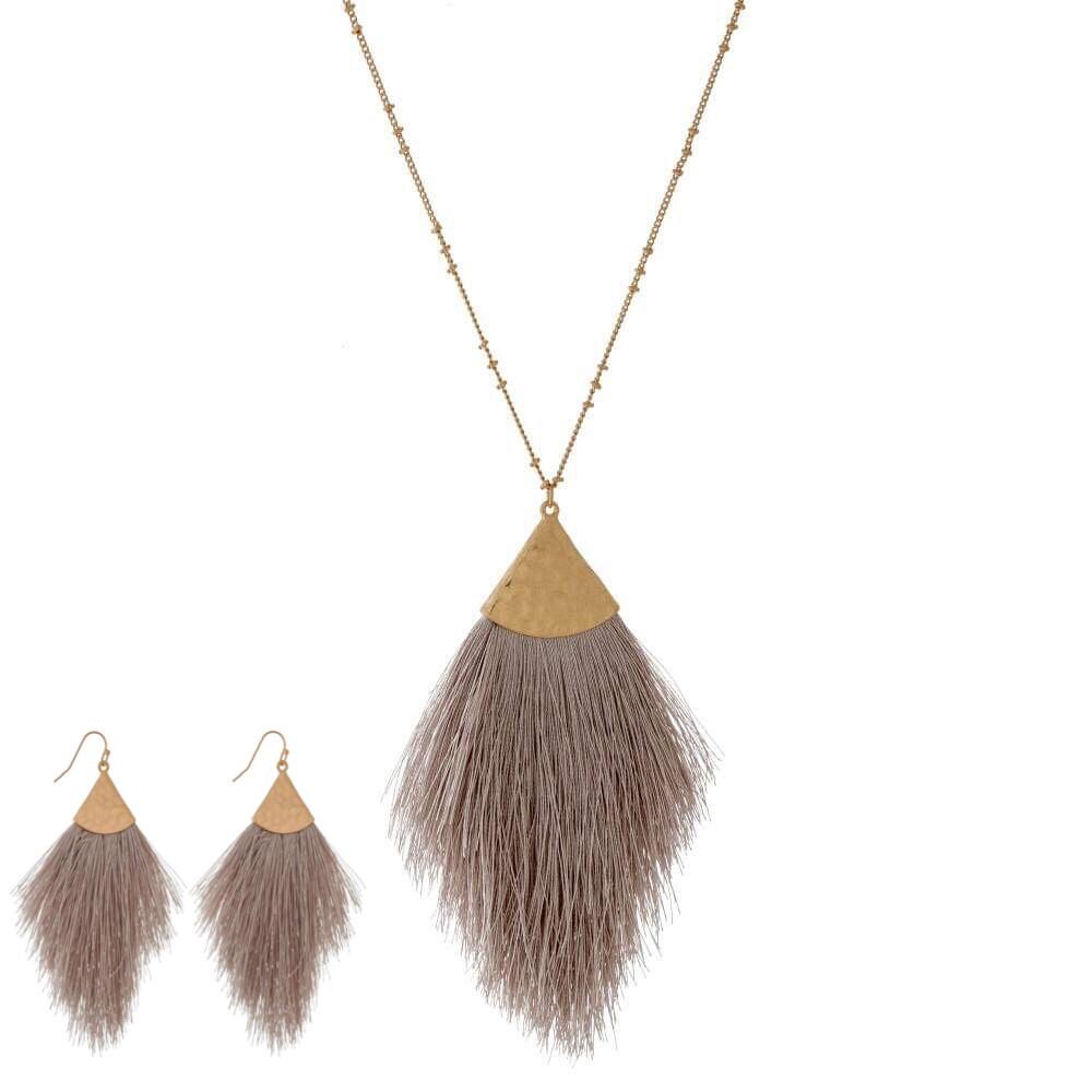 Greige Tassel Necklace & Earrings