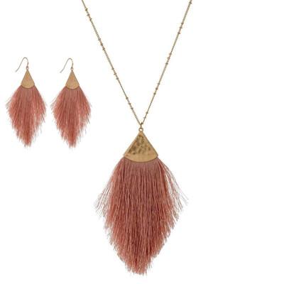 Dusty Rose Tassel Necklace & Earrings