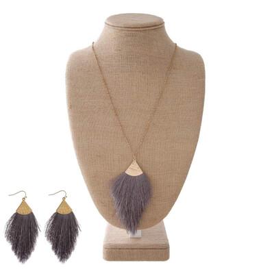 Charcoal Tassel Necklace & Earrings