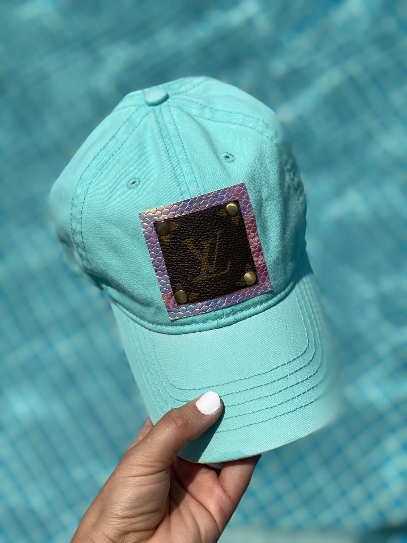 LV Upcycled Baseball Cap - Turquoise