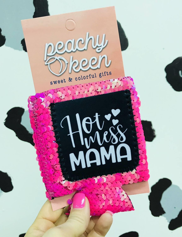 Hot Mess Mama Sequin ID koozie