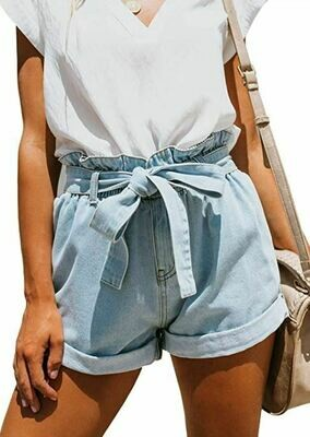 DENIM PAPER BAG SHORTS