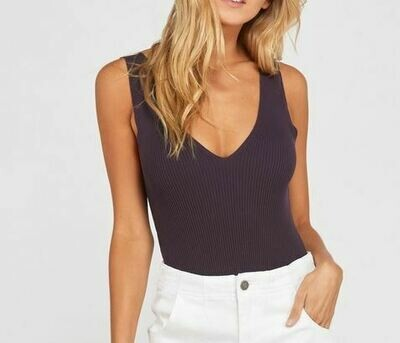 PLUM  V NECK RIBBED BODYSUIT