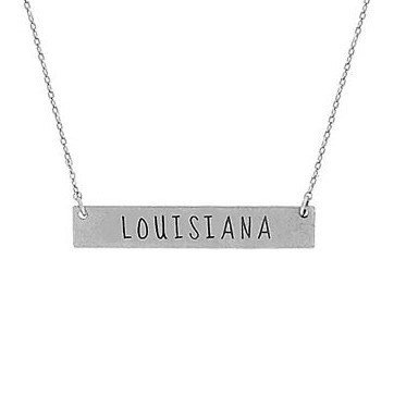 Louisiana Dainty Bar Necklace - Silver