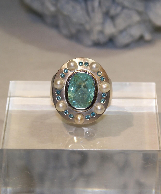 """""""A piece of Blue Sky"""" Paraiba Tourmaline Blue Diamonds Ring"""